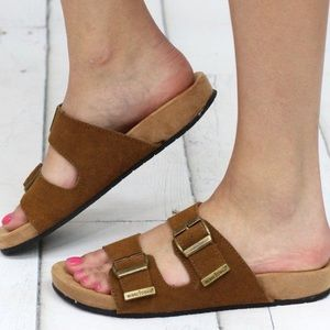 Brand New with Box Minnetonka Suede Brown Slide